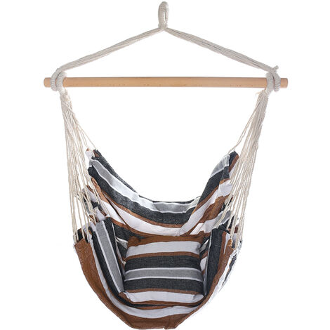 Hanging Rope Chair Seat Swing Hammock with Pillow 100x130cm Coffee