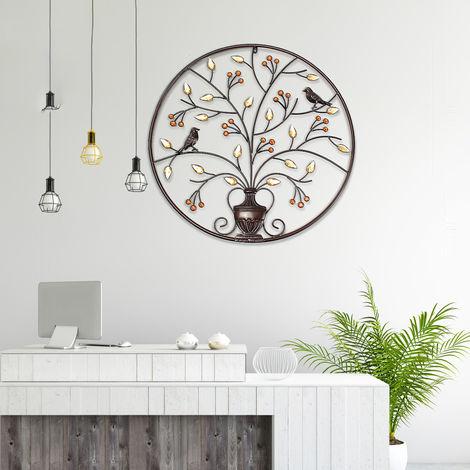 Hanging Sculpture Bird Tree Round Wall Metal Iron Home Decoration
