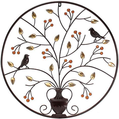Hanging Sculpture Bird Tree Round Wall Metal Iron Home Decoration Hasaki