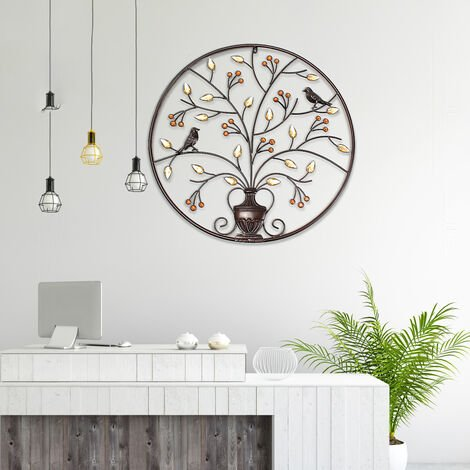 Hanging Sculpture Bird Tree Wall Round Metal Iron Decoration Maison Mohoo