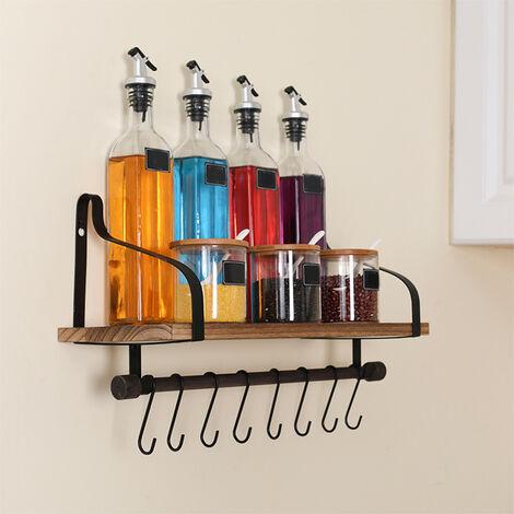 Hanging Shelf Wall Shelves Black Metal Frame Wooden Shelves Storage Decor Hooks