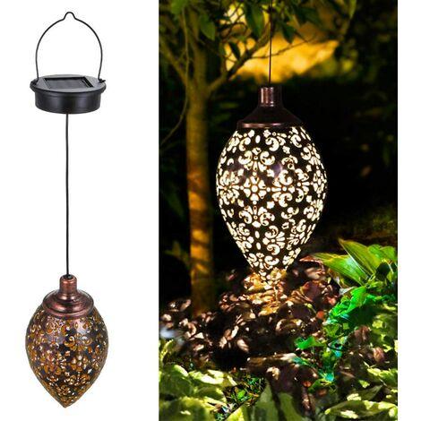 Hanging Solar Lights (2 Pack) Solar Lantern LED Garden Lights Metal Lamp Waterproof for Outdoor Hanging Decor (2 Pack)
