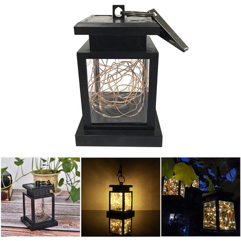 Hanging Solar Lights Outdoor Solar Powered Waterproof Landscape Lanterns with Retro Design