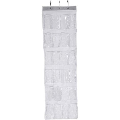 hanging storage organiser with 24 pockets for shoes, hanging storage bag, shoe storage, white - Transparent