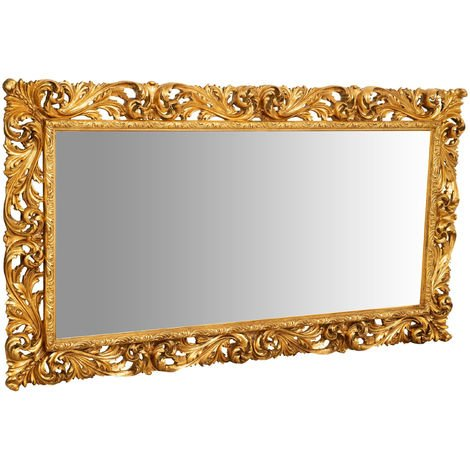 Hanging Wall Mirror IN ANTIQUE GOLD LEAF FINISH WOOD MADE IN ITALY