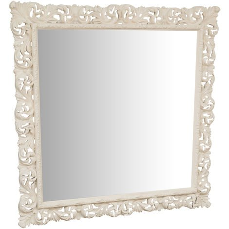 Hanging Wall Mirror IN ANTIQUE WHITE FINISH WOOD MADE IN ITALY