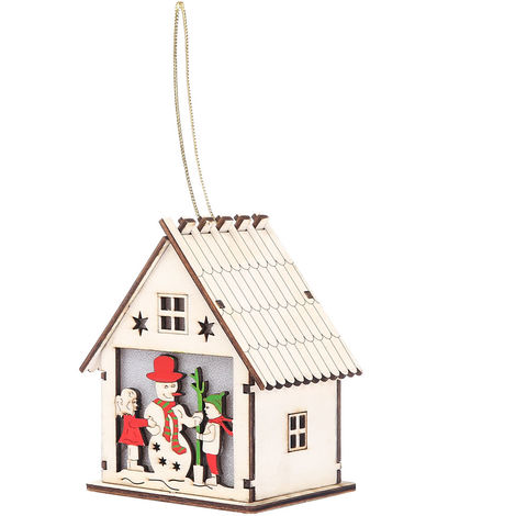Hanging Wood Chalet With LED Light Christmas Decorative Hotel Bar Cafe House Christmas Tree Decoration