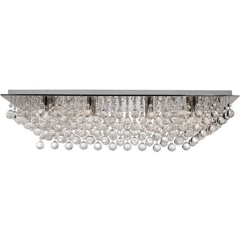 HANNA 8 LIGHT CHROME RECTANGLE FLUSH- CRYSTAL BALL