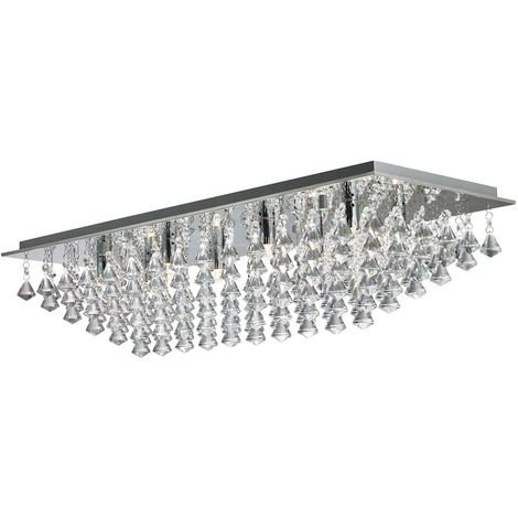 HANNA - 8 LIGHT RECTANGLE FLUSH, CHROME, CRYSTAL PYRAMID DROPS