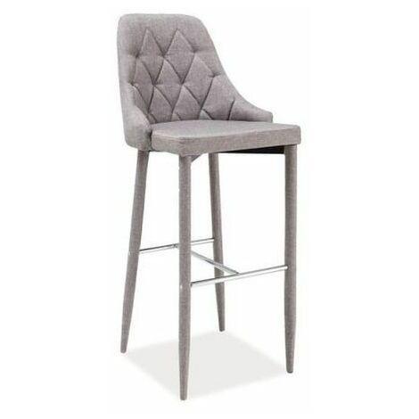 HANNE | Tabouret de bar style glamour | Dimensions 109x46x42cm | Chaise de bar | Chaise haute cuisine bar | Siège en tissu - Gris