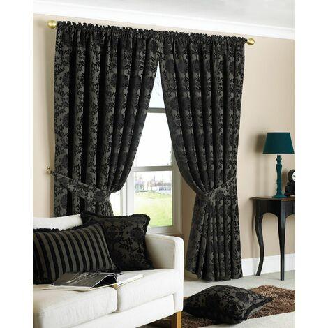 Hanover Chenille Jacquard Pencil Pleat Curtains, Black, 66 x 72 Inch