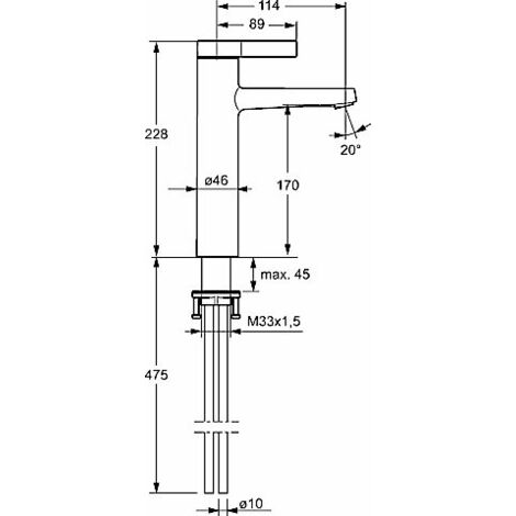 Hansa Hansaloft Mezclador monomando de lavabo alto, 5756, conexión mediante tubos de cobre, cromado - 57562103