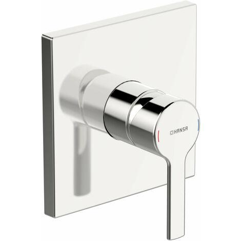 Hansa Hansaronda unité fonctionnelle avec set décoratif mitigeur douche une main, rosace carrée, 150x150mm, chromé - 83869583