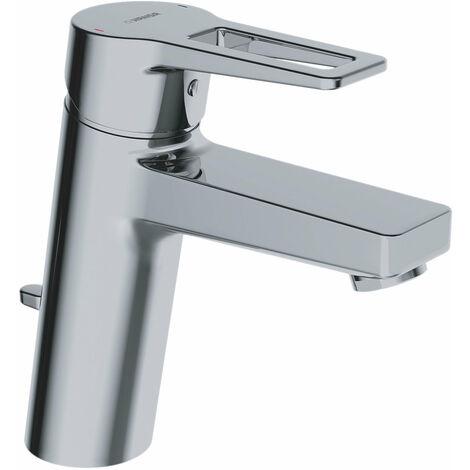 Hansa Hansatwist, mitigeur monocommande de lavabo, monotrou, saillie 123 mm, avec bonde de vidange, raccordement par flexibles de pression, chromé 09012285 - 09012285