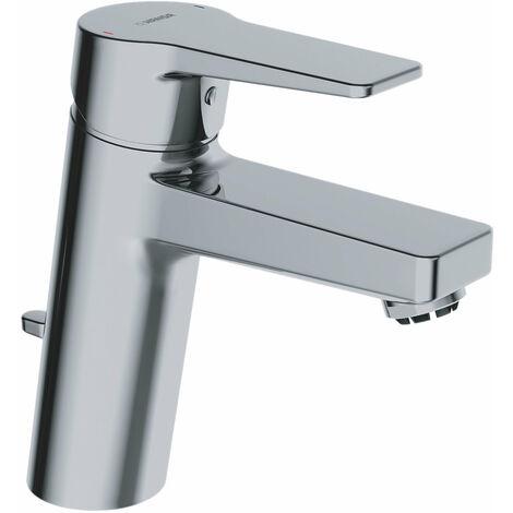 Hansa Hansatwist, mitigeur monocommande de lavabo, pour chauffe-eau ouverts, saillie 123mm, avec bonde de vidange, raccordement par tubes cuivre, chromé - 09031183