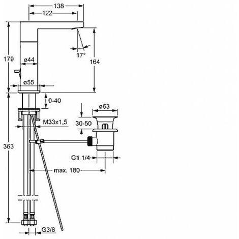 Hansa Hansatwist, mitigeur monocommande de lavabo, pour chauffe-eau ouverts, saillie 123mm, avec bonde de vidange, raccordement par tubes cuivre, chromé 09031185 - 09031185
