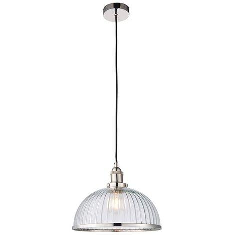 Hansen Pendant Ceiling Lamp Lighting Fixture 1Lt Indoor Glass Shade Nickel Trim