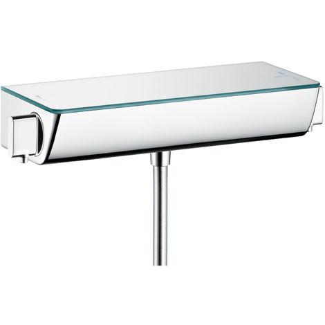 Hansgrohe 13161400 Mitigeur thermostatique Ecostat Select avec tablette en verre de sécurité Blanc/chromé