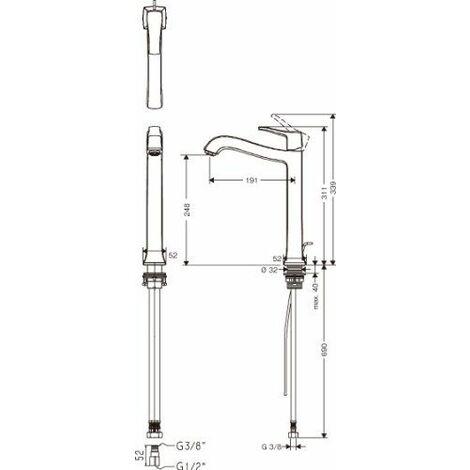 Hansgrohe 31078000 Metris Classic Mitigeur chromé avec bonde pour vasque