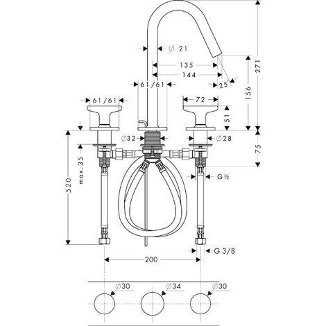 Hansgrohe AXOR Citterio M Mélangeur lavabo 3 trous AXOR M 160 avec poignées étoile, rosaces et vidage pop-up, Coloris: chrome - 34135000