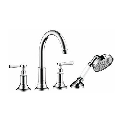 Hansgrohe AXOR MONTREUX Accesorios de borde para bañera de 4 orificios, manijas de palanca, proyección de 196 mm - 16550000