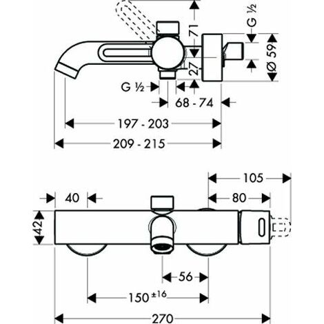 Hansgrohe AXOR Secuflex Wannenrand-Set - 28380000