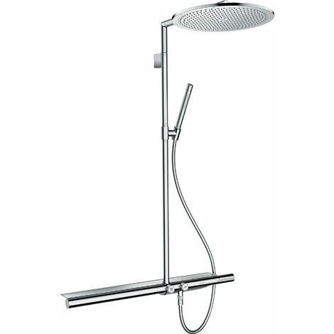 Hansgrohe AXOR ShowerSolutions Tubo de ducha con termostato 800 y ducha mural 350 1jet, color: latón pulido - 27984930
