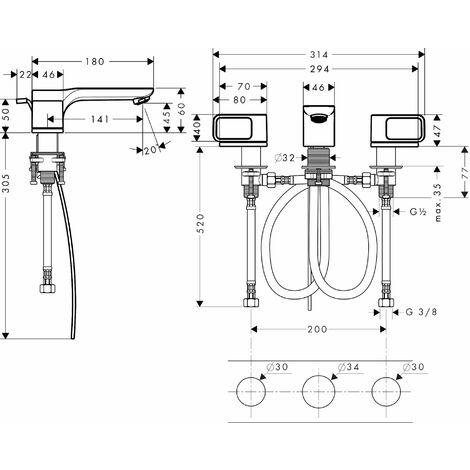 Hansgrohe Axor Urquiola 3-hole basin mixer DN15 with rosettes - 11041000