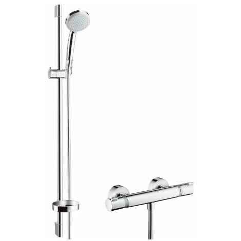 hansgrohe Croma 100 système de douche en surface Vario avec thermostat Ecostat Comfort et rail de douche 90 cm, 27035000, chromé - 27035000