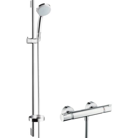Hansgrohe Croma 100 Shower System Vario EcoSmart 9 l min With Ecostat Comfort Thermostatic Mixer And Shower Rail - 90cm