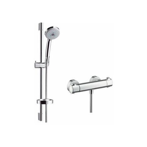 Hansgrohe Croma 100 sistema de ducha de superficie Multi con Ecostat Termostato confort y barra de ducha 65 cm, 27086000, cromada - 27086000