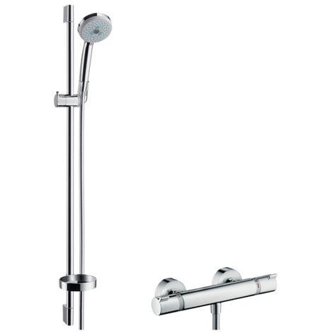 Hansgrohe Croma 100 sistema de ducha de superficie Multi con Ecostat Termostato confort y barra de ducha 90 cm, 27085000, cromado - 27085000