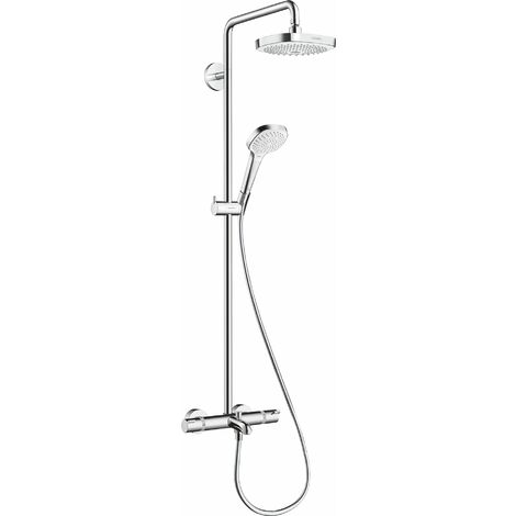 Hansgrohe Croma Select E Pipe de douche 180 2jet avec thermostat de bain, blanc/chrome - 27352400