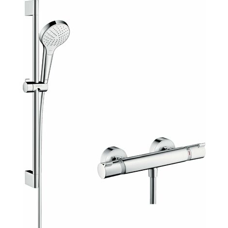 Hansgrohe Croma Select S sistema de ducha de superficie Vario con Ecostat Termostato confort y barra de ducha 65 cm, 27013400, blanco/cromo - 27013400