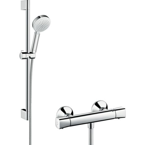 Hansgrohe Crometta 100 Shower System Vario With Ecostat Universal Thermostatic Mixer And Shower Rail 65 cm