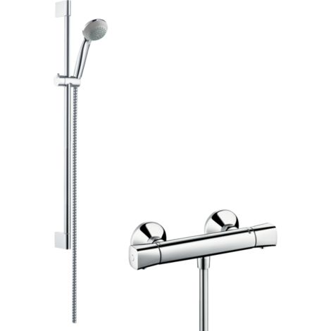 Hansgrohe Crometta 85 Shower System Vario With Ecostat Universal Thermostatic Mixer And Shower Rail - 65cm