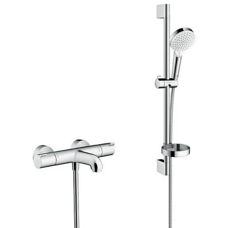 Hansgrohe Ecostat 1001 CL Pack Mitigeur Thermostatique bain/douche + Set de douche Crometta Vario avec porte-savon (13201000-Crometta2)