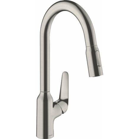 Hansgrohe Focus M42 monomando de cocina 220, ducha extraíble, 2jet, color: Acabado en acero inoxidable - 71800800