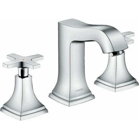Hansgrohe - Mélangeur de lavabo 110 Metropol Classic 3 trous poignées croisillons avec tirette et vidage finition aspect chromé/or