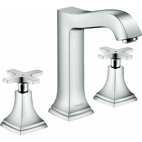 Hansgrohe - Mélangeur de lavabo 160 Metropol Classic 3 trous poignées croisillons avec tirette et vidage finition aspect chromé/or