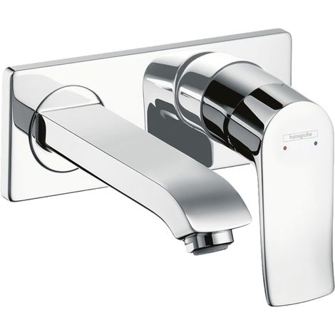 Hansgrohe Metris flush-mounted single-lever basin mixer with spout 165 mm for wall mounting 31085000, LowFlow - 31251000
