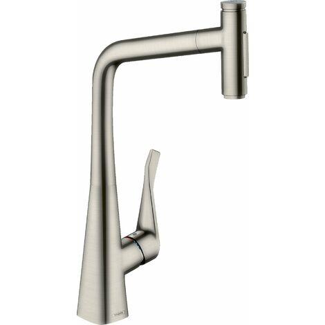 Hansgrohe Metris Select M71 Monomando de cocina 320, ducha extraíble, 2jet, sBox, color: Acabado en acero inoxidable - 73816800