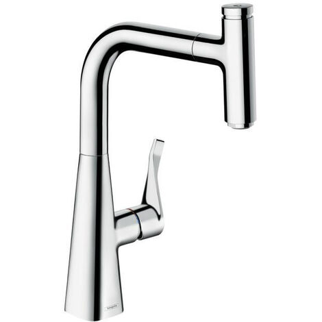 Hansgrohe Metris Select Single Lever Kitchen Mixer 240 With Pull Out Spout Chrome 14857000