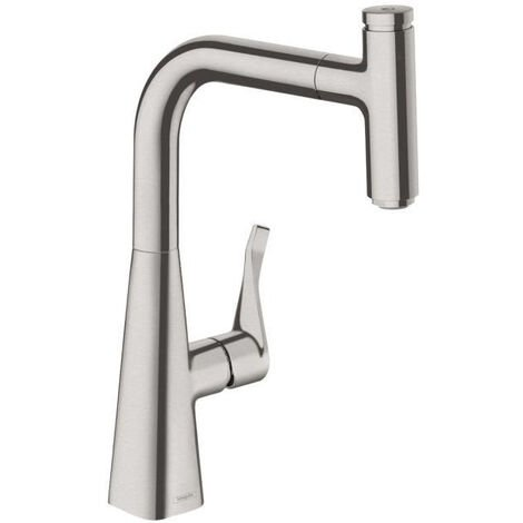 Hansgrohe Metris Select Single lever kitchen mixer 240 with pull-out spout, Stainless steel finish (14857800)