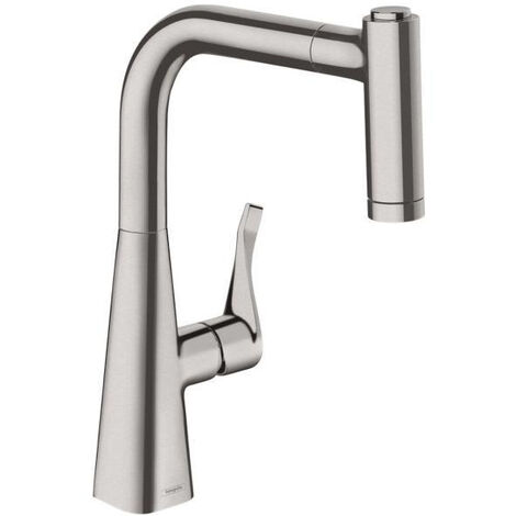 Hansgrohe Metris Single lever kitchen mixer 220 with pull-out spray, Stainless Steel Finish (14834800)