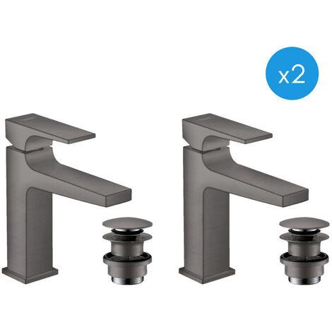 Hansgrohe Metropol Lot de 2 mitigeurs de lavabo avec bonde Push-Open, Noir Chromé brossé (32507340-DUO)
