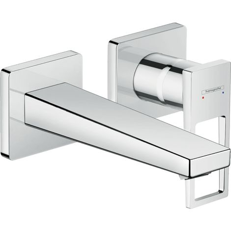 Hansgrohe Metropol single-lever washbasin mixer, flush-mounted, lever handle, 165mm projection, wall mounting - 74525000