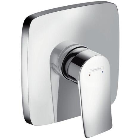 Hansgrohe Mitigeur monocommande de douche encastré Metris, carré, chromé 31456000, 1 consommateur - 31456000