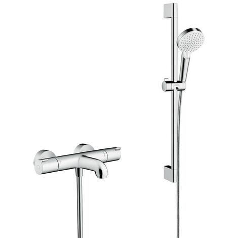 Hansgrohe Pack Ecostat 1001 CL Mitigeur Thermostatique bain/douche + Set de douche Crometta Vario (13201000-CROMETTA)