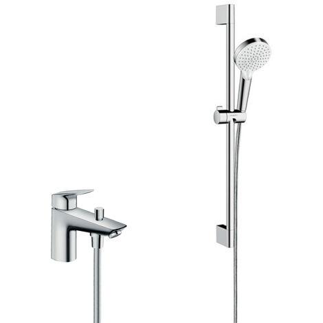Hansgrohe Pack Focus Mitigeur bain/douche C2 monotrou avec cartouche à 2 vitesses + Set de douche Crometta Vario (71315000-CROMETTA)